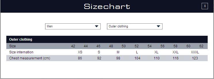 Size chart Gaastra